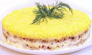 Пошаговый рецепт салата мимоза с консервой