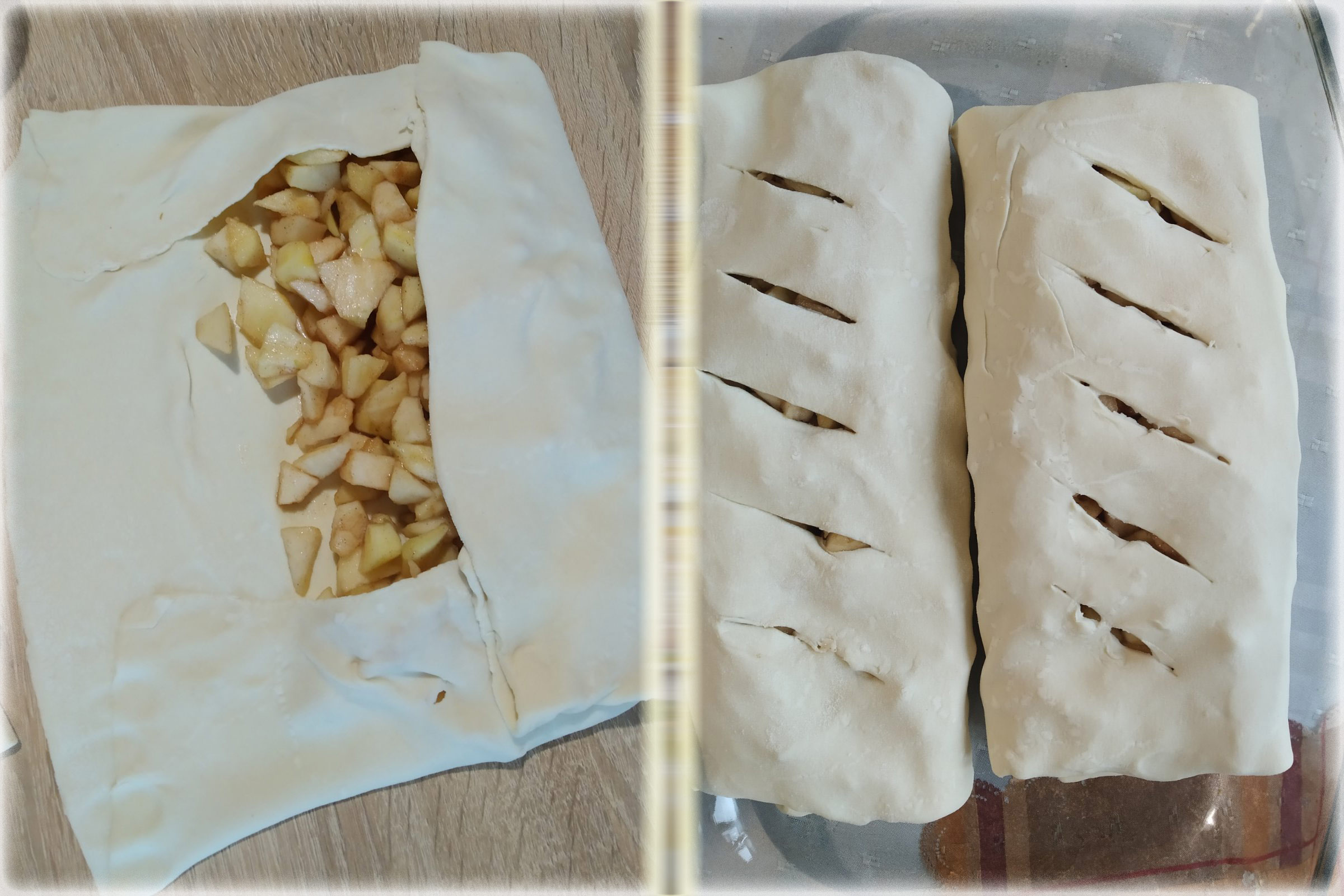 укладка начинки в готовое слоеное тесто для штруделя